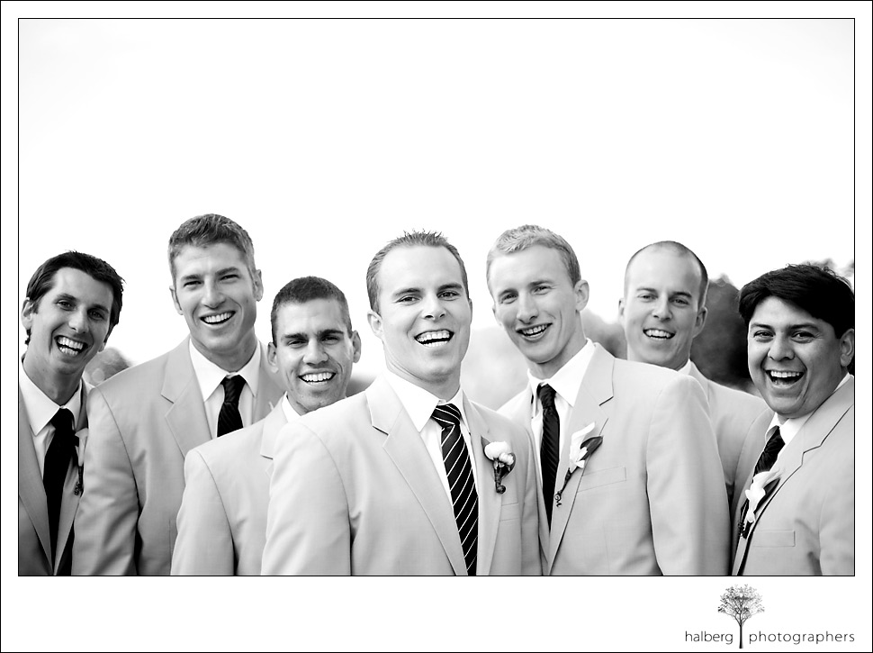 lane poses with the guys at his fess parker wedding in Santa Ynez Valley