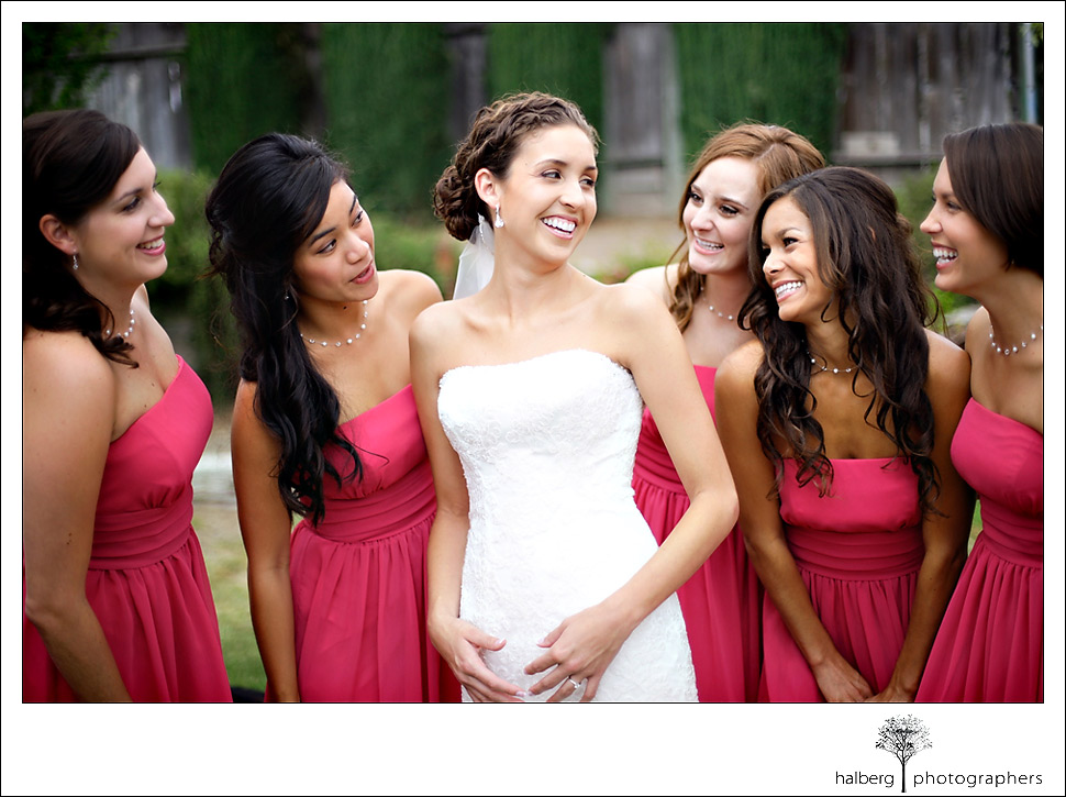 marisa poses with her bridesmaids at her fess parker winery wedding