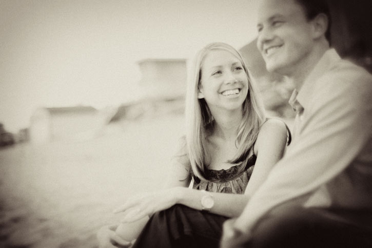 Jenny and Michael's engagement session in black and white on the Malibu beach