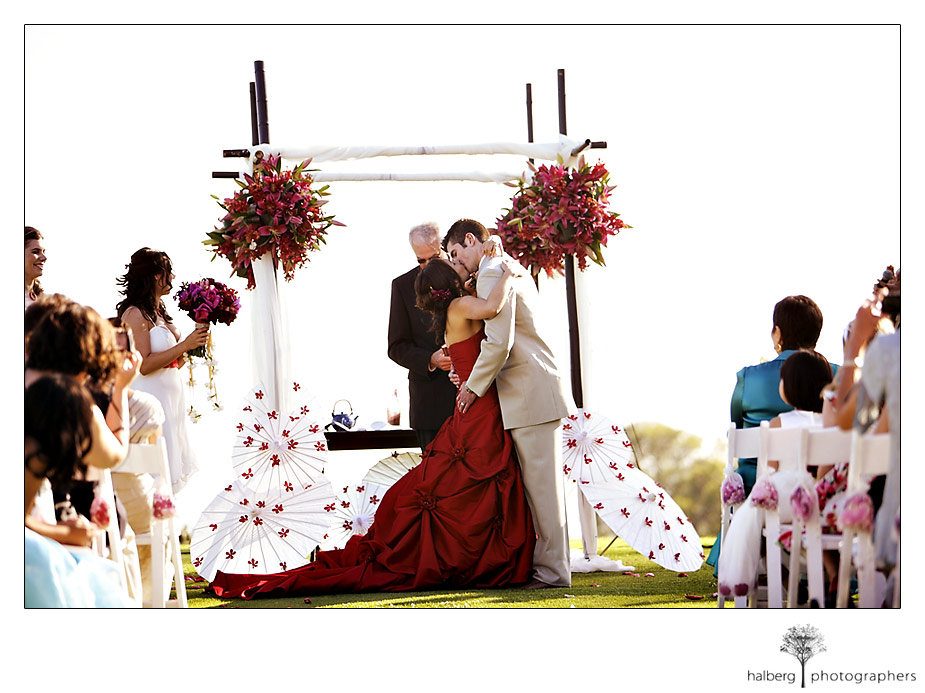 Tang Wedding kiss in Montecito