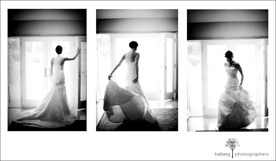 marisa shows off her wedding dress before her fess parker winery wedding