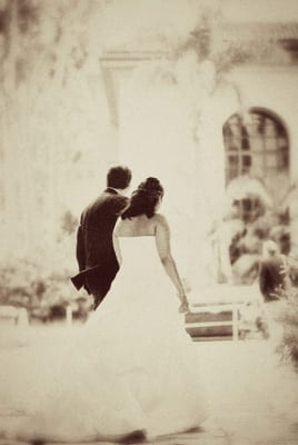 Black and White film at the Santa Barbara Courthouse Wedding