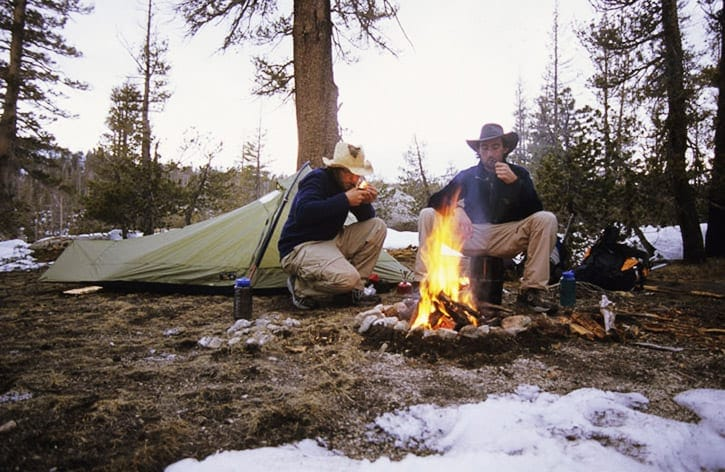 Camping on the John Muir Trail early season with lots of snow