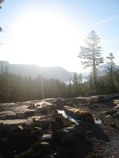 John Muir Trail camp on Day two of a Through Hike