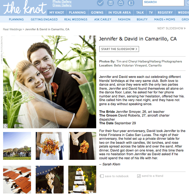 The Knot has featured our wedding on their front page