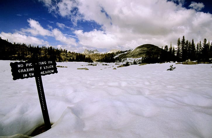 Lots of snow still sitting in Sunrise Meadow Yosemite John Muir Trail