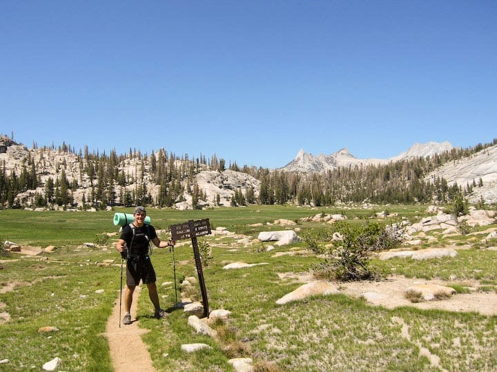 Phil stands at the beginning of Sunrise Meadow on the John Muir Trail