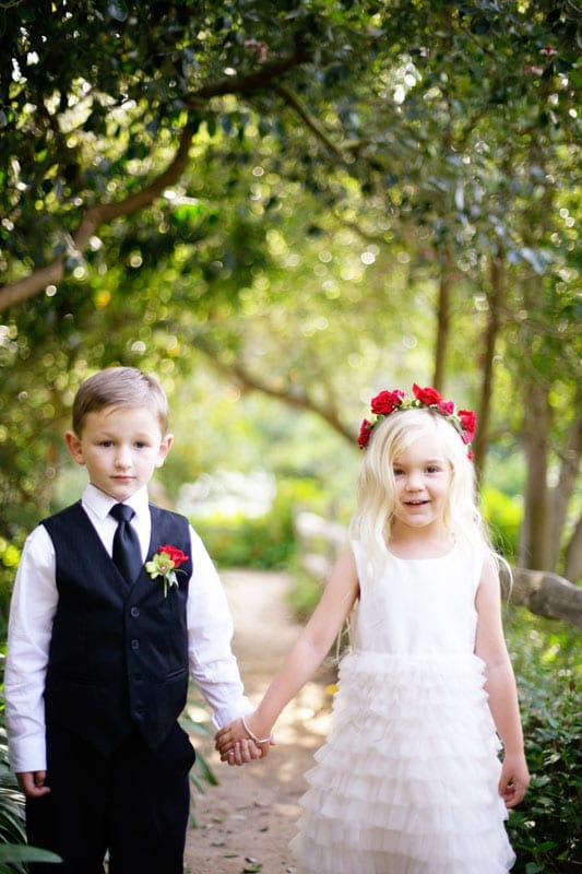 Wedding ring bearer and flower girl at Eucalyptus Lane wedding