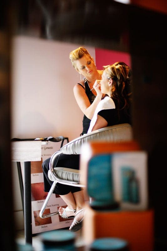 Michael Kelley's salon wedding makeup preparation photos