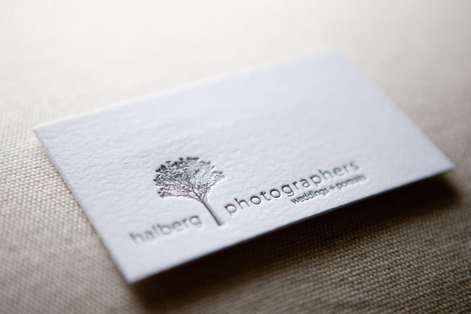 Santa Barbara wedding photographers letterpress business cards