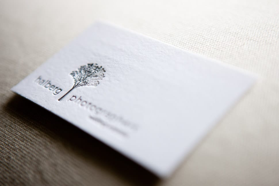 letterpress business cards for Santa Barbra Wedding Photographers