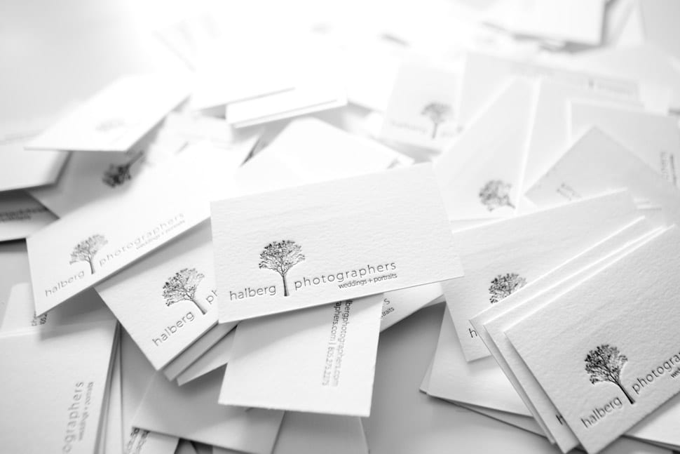 Santa Barbara letterpress business cards for wedding photographers