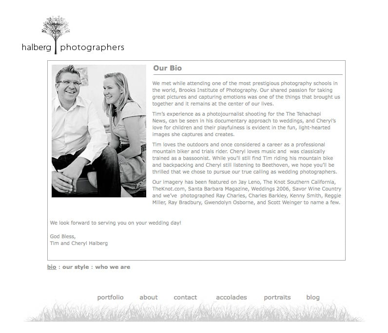 screen shot of santa barbara wedding photographers website Tim and Cheryl halberg bio section