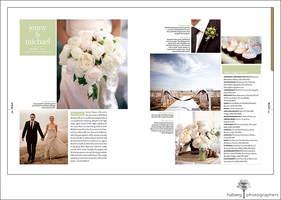 Michael and Jenny's malibu wedding in the Knot Weddings fall/winter issue.