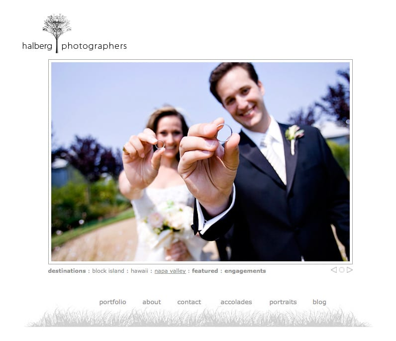 website screen shot of bride and groom at their carneros inn wedding in napa