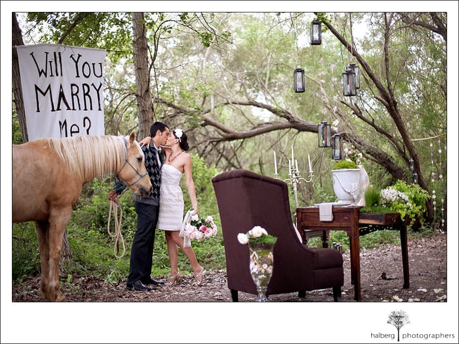 couple kissing after a proposal