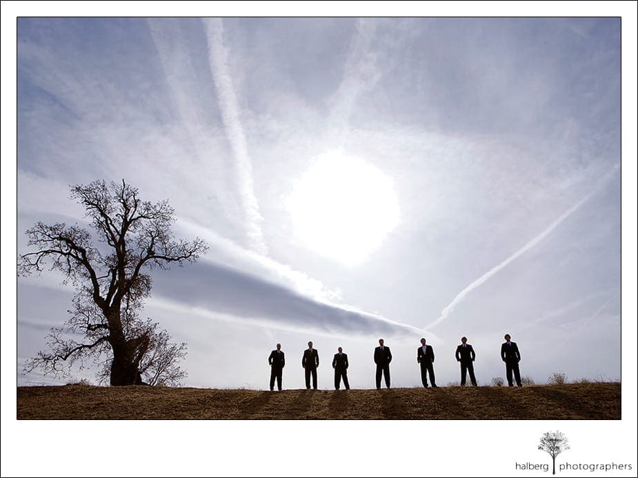 groom with groomsmen on a tehachapi hilltop