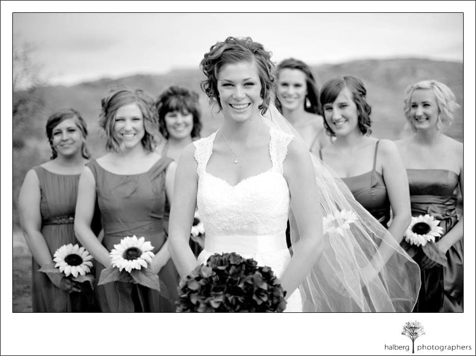 bride with bridesmaids at her tahachapi wedding