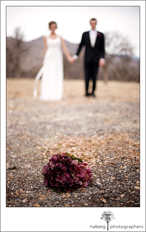 tehachapi wedding couple with flowers in foreground