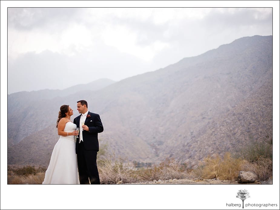 portraits of bride and groom at Palm Springs California wedding
