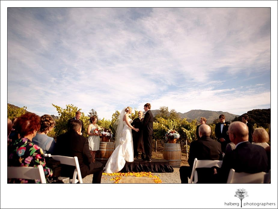 wedding ceremony among vines at chateau julien wine estate