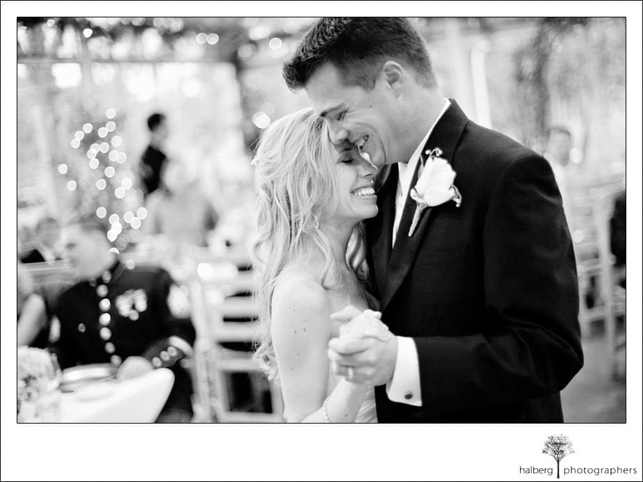 bride and groom first dance at stella mare's restaurant