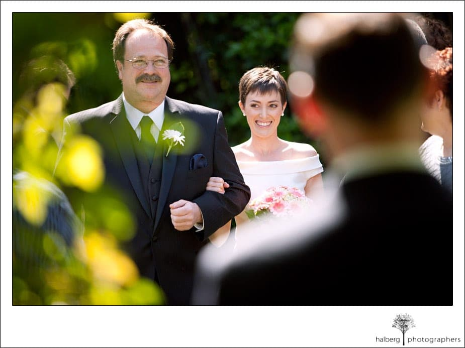 father walking bride down the isle at her ranch house wedding in Ojai