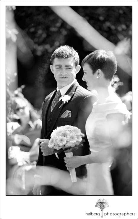 groom looking at his bride at their Ranch House Wedding in Ojai
