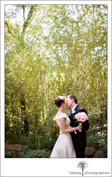 bride and groom kissing at their ranch house wedding in ojai