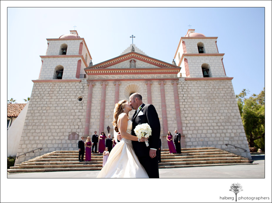 groom with bride at valley club of montecito wedding