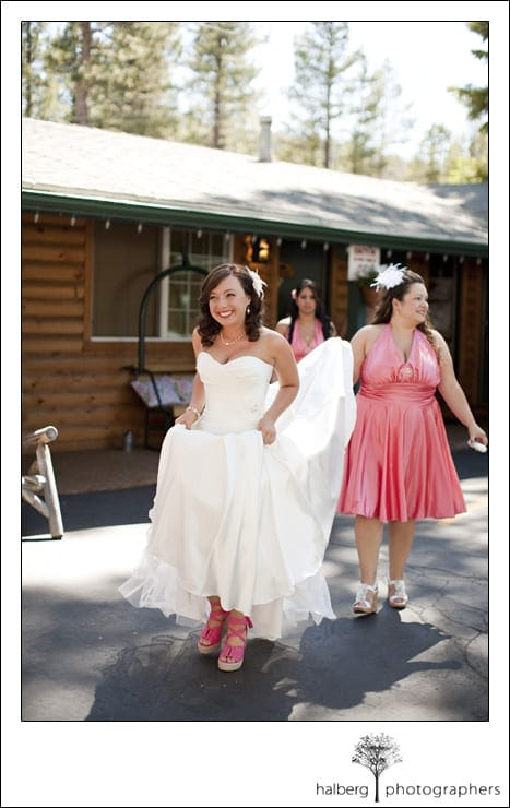 bride walking at fireside lodge lake tahoe