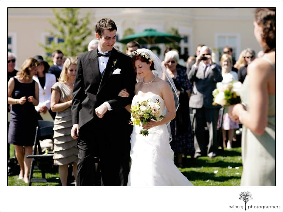bride and groom at end of isle at private estate wedidng