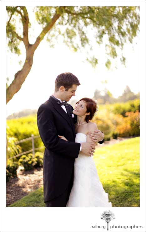 bride and groom embracing at their montjoie private estate wedding