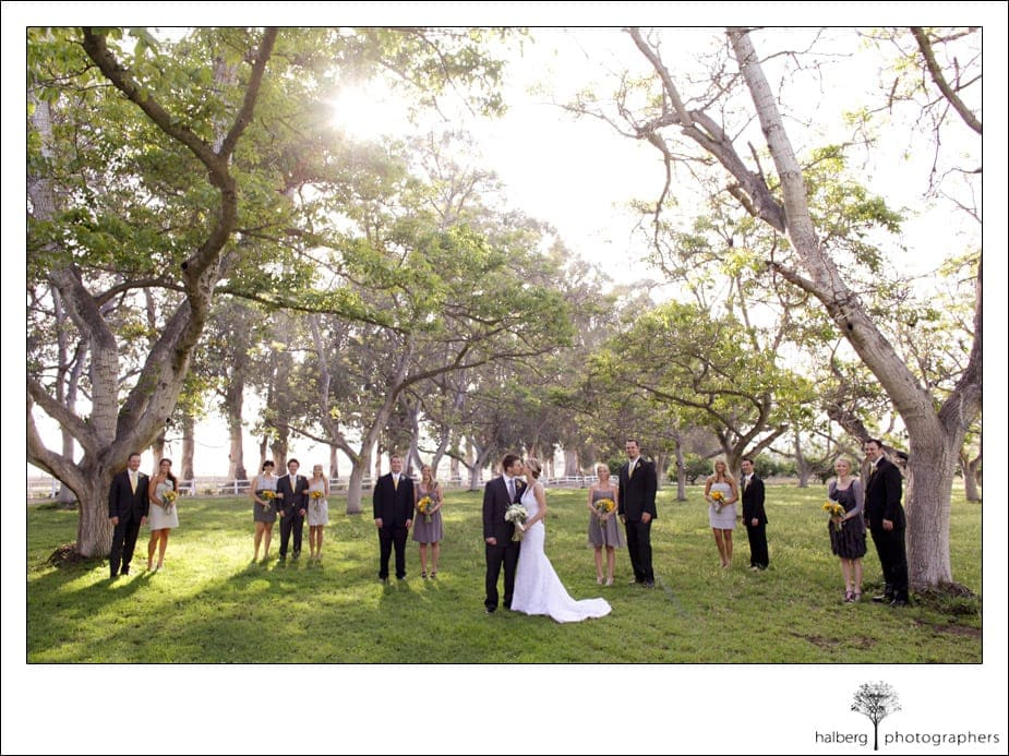 bridal party picture at walnut grove in moorpark