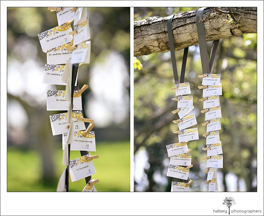 wedding place cards at the walnut grove in moorpark
