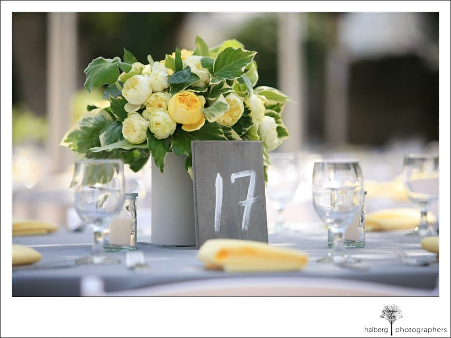 yellow and gray floral wedding center piece at the walnut grove in moorpark