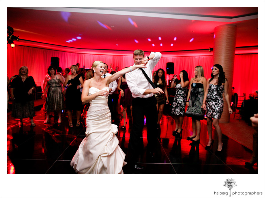 bride dancing with guests at coral casino wedding
