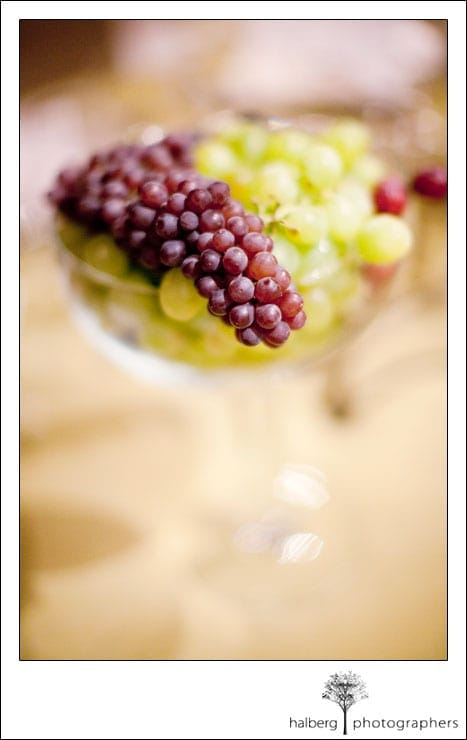 cuvaison wedding winery grapes table centerpiece