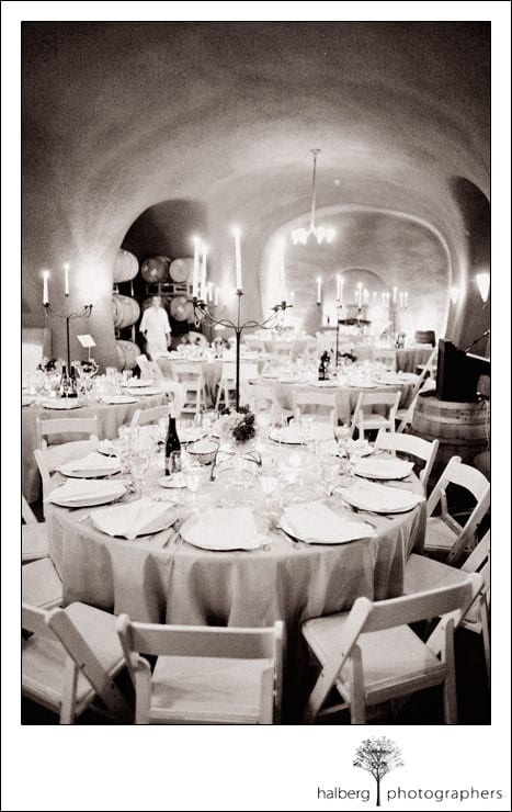 cuvaison winery wedding rehearsal table set up