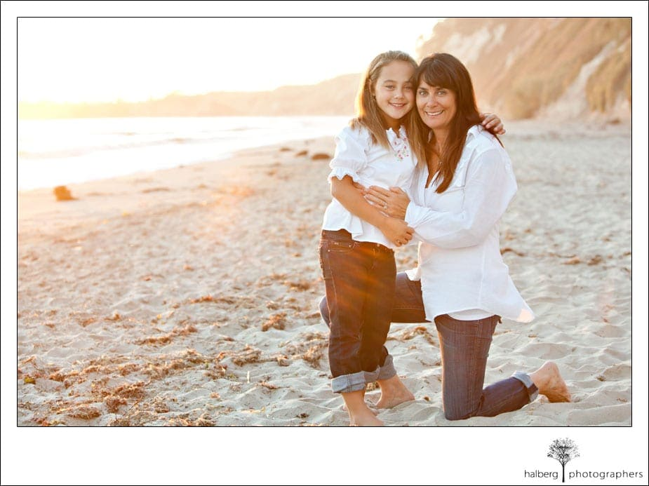 mother and daughter portrait at private beach in hope ranch