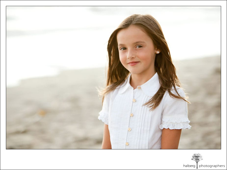 daughter's portrait at private beach in hope ranch