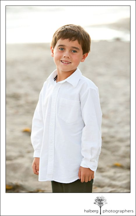 son's portrait at private beach in hope ranch