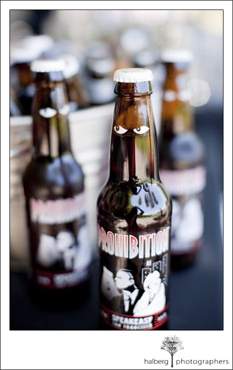 prohibition beer bottle at San Francisco wedding
