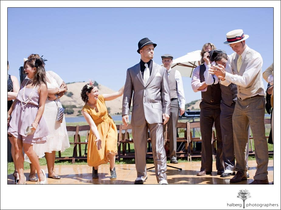 groom waiting for bride at san francisco prohibition themed wedding