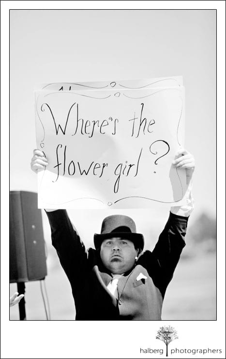 guest holding silent film sign at san francisco wedding