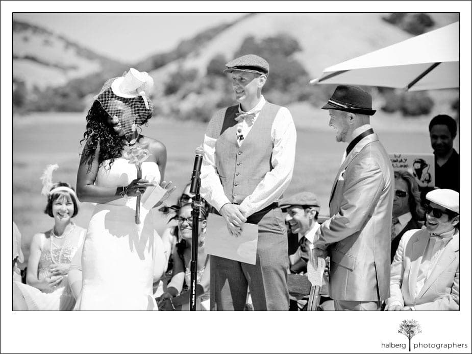 groom and bride at alter at their stafford lake wedding in san francisco