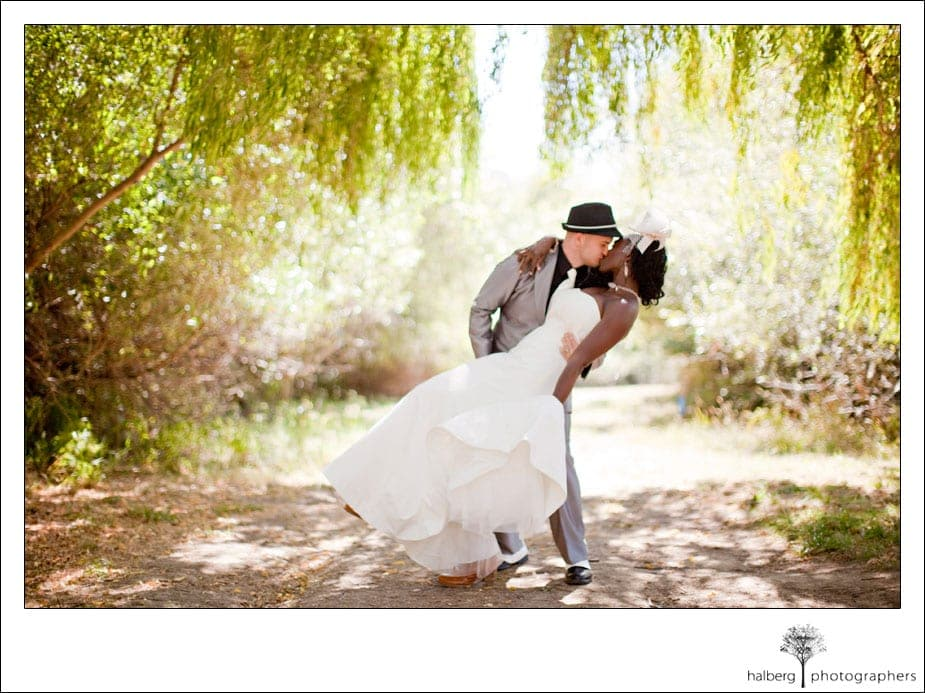 groom dipping and kissing bride at their stafford lake wedding in san francisco