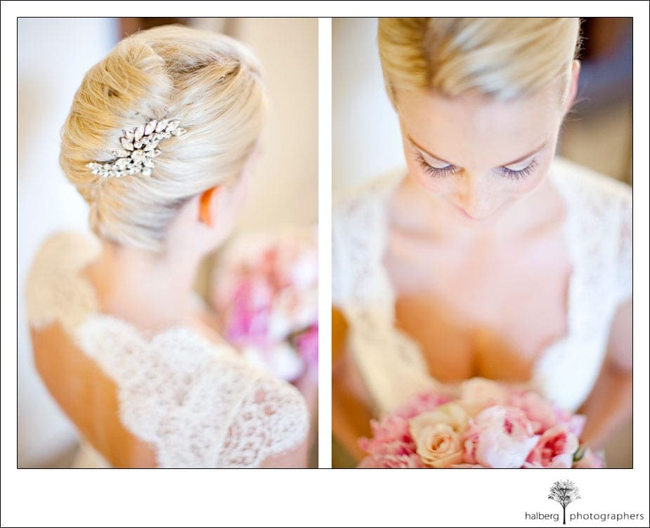 bride hair piece and bouquet at sollage wedding