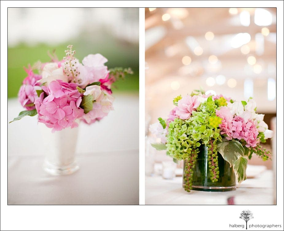 pink and green floral centerpiece at solage wedding