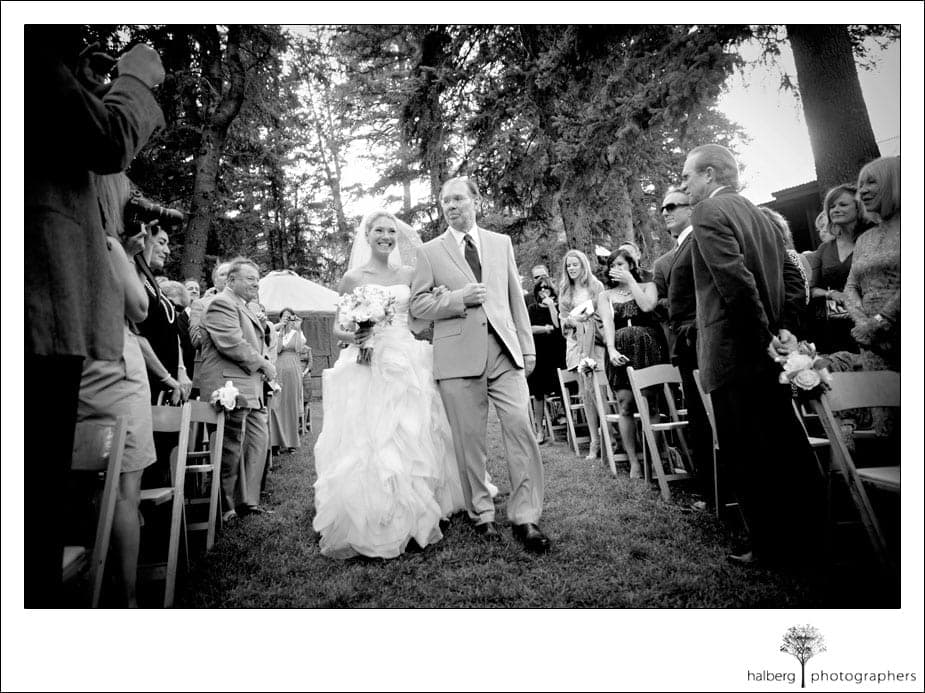 father walking bride down isle at her sundance wedding